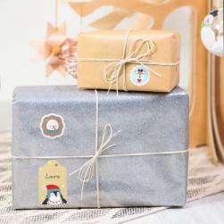 Etichette per regali di Natale - Animali oro blu