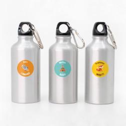 Adesivi Rotondi per borraccia e bottiglie con testi multipli