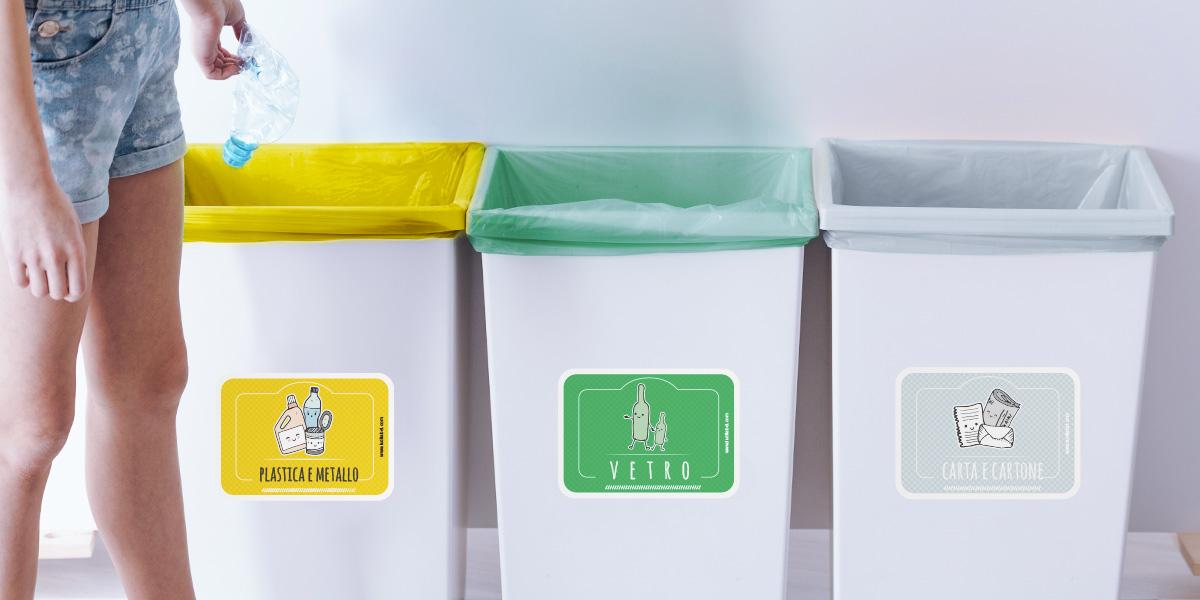Etichette adesive per la raccolta differenziata