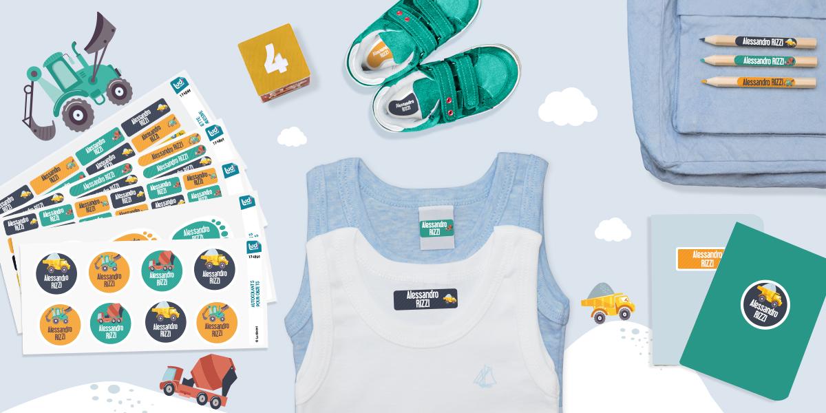 a tua prima missione è contrassegnare tutti i vestitini e gli oggetti di tuo figlio