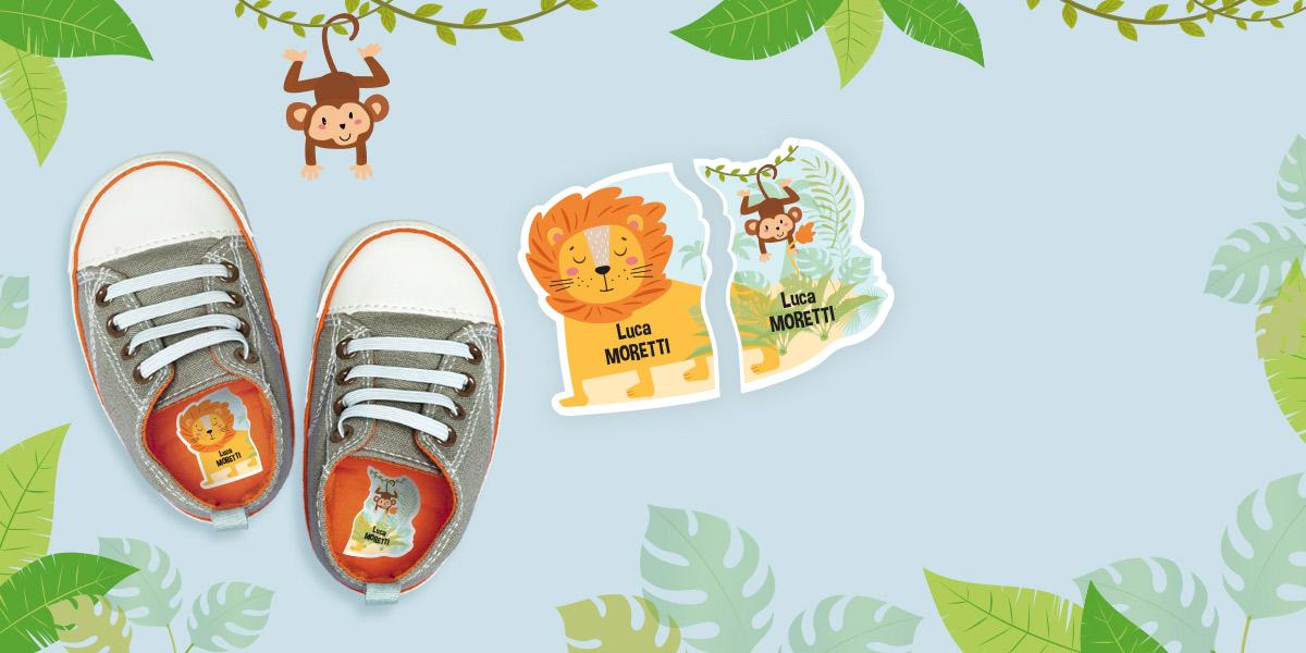 Etichette intuitive per scarpe