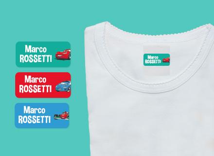 Etichette Cars sui vestiti