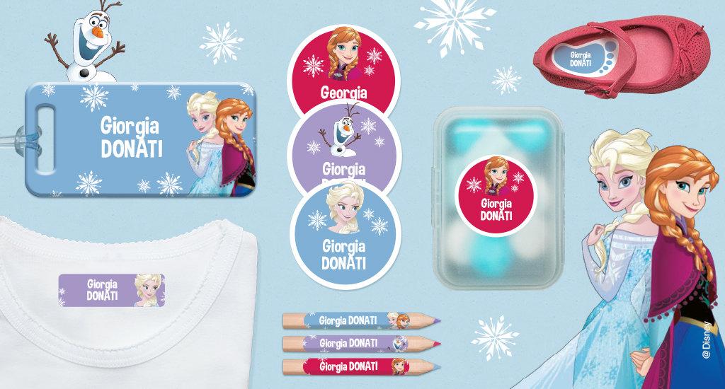 Tutti i nostri formati di etichette con Frozen 1