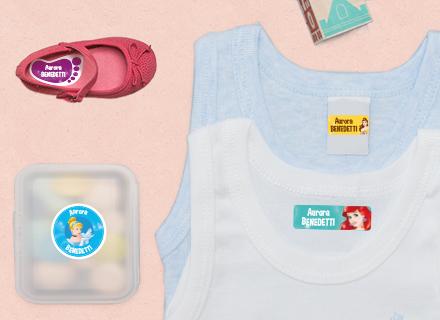 Etichette Principesse Disney per materiale scolastico, canottiere e stoviglie