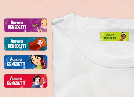 Etichette termoadesive Principesse Disney vestiti