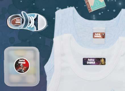 Etichette Guardiani della Galassia per materiale scolastico, canottiere e stoviglie