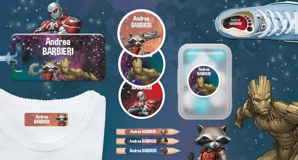 Etichette con nome dei bambini di Marvel: Guardiani della Galassia