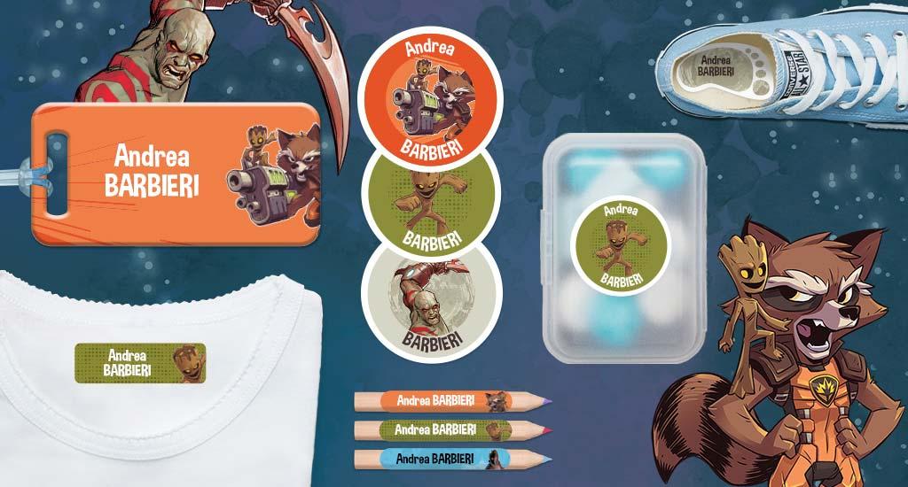 Le etichette personalizzate dei  Guardiani della Galassi