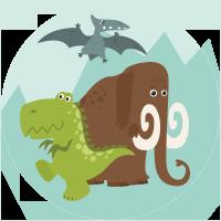 Un Mammut et due Dinosauri