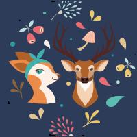 Animali della foresta (cervi)