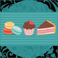 torta, cupcake e macarons