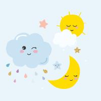 Nuvolette, luna e sole carini