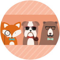 Trio di animali hipsters