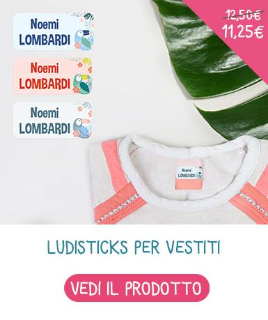 Etichette adesive y nominative per vestiti Ludisticks