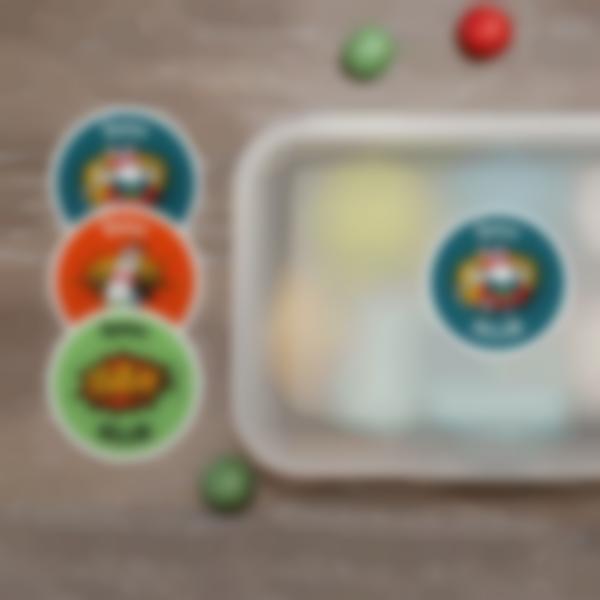 2 adesivi rotondi nome oggetti personalizzati