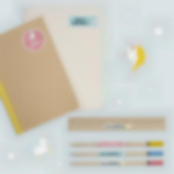 2 pacchetto adesivi etichette materiale scolastico unicorno