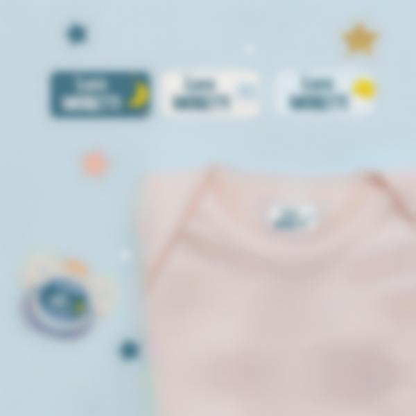 2 pacchetto etichette asilo nido vestiti nuvolette