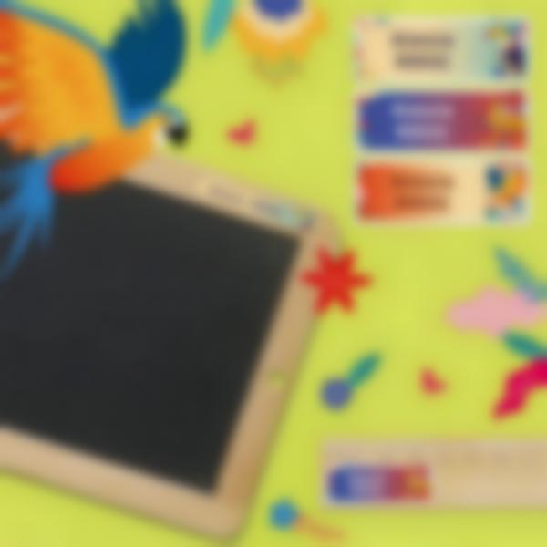 3 etichette adesive materiale scolastico jungle vibes