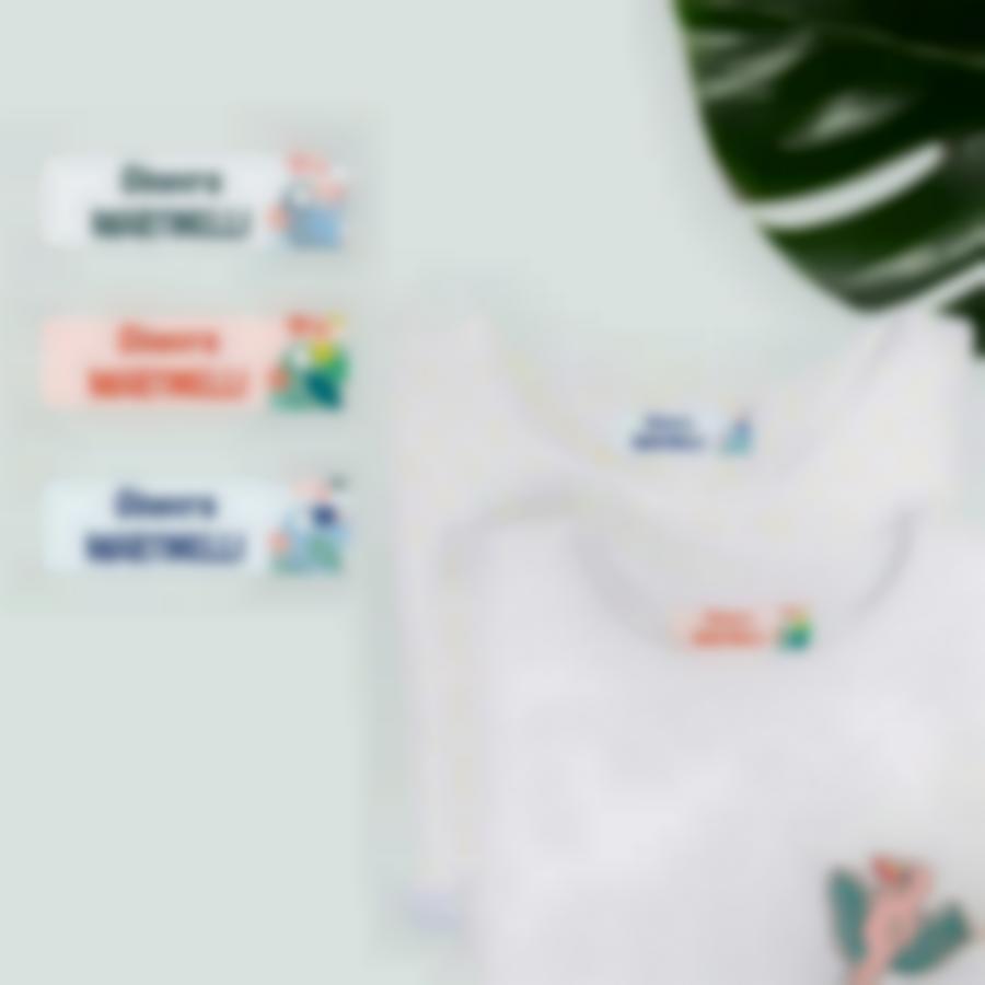 4 pacchetto etichette personalizzate nome bambino tropical