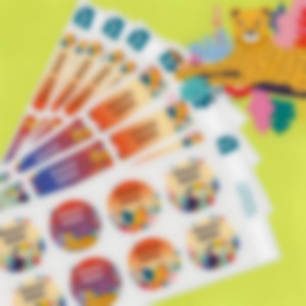 5 etichette adesive materiale scolastico jungle vibes