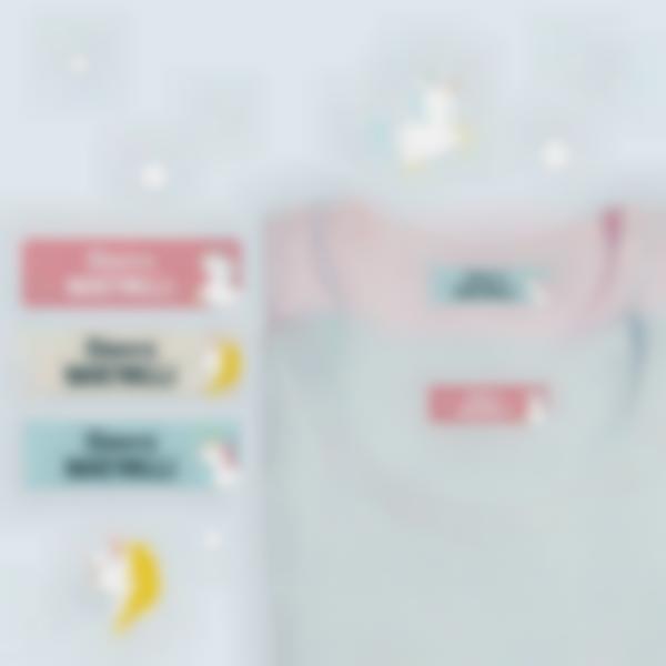 5 pacchetto etichette contrassegnare vestiti scuola unicorno