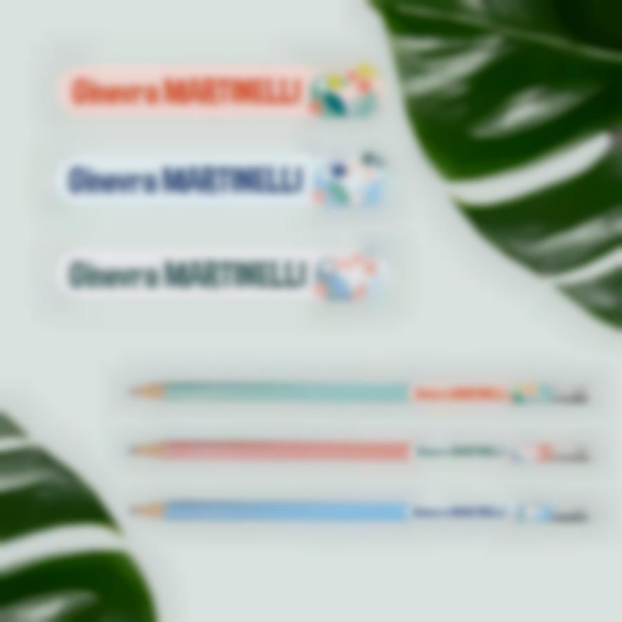 6 pacchetto base etichette vestiti oggetti materiale scolastico tropical
