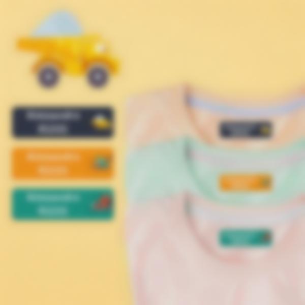 6 pacchetto etichette scuola materna con nome bambini veicoli