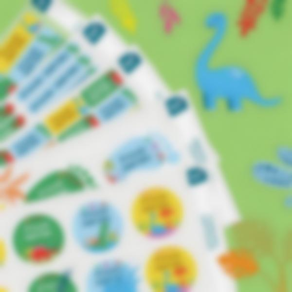 7 pacchetto plurietichette adesive nominative dino