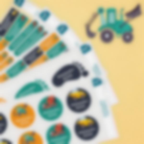 8 pacchetto etichette scuola materna con nome bambini veicoli
