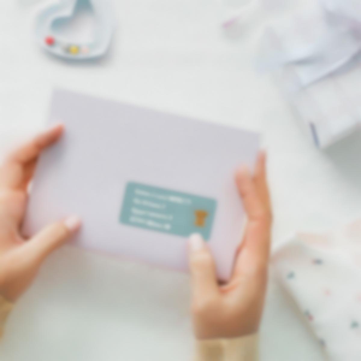 etichette busta mailing inviti nascita