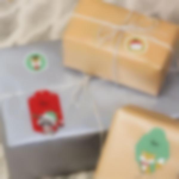 Etichette per regali di Natale - Ludilabel Animali rosso verde