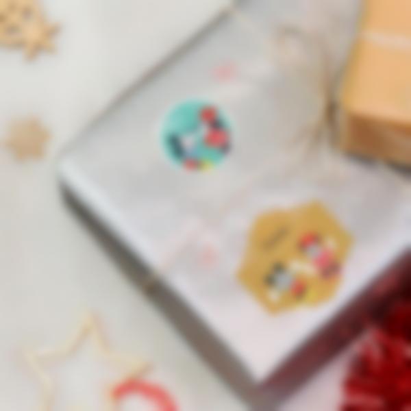Etichette per regali di Natale - Topolino e Minni