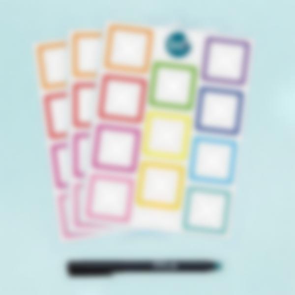 Etichette bianche quadrate scrivibili x 33 - Arcobaleno