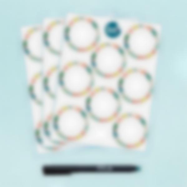 Etichette bianche rotonde cancellabili x 24 - Tropical