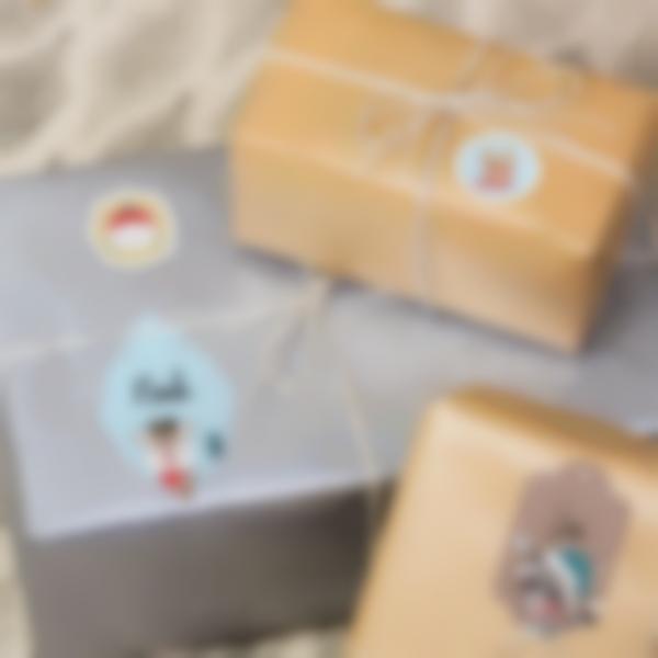 Etichette per contrassegnare i regali di Natale - Animali oro blu