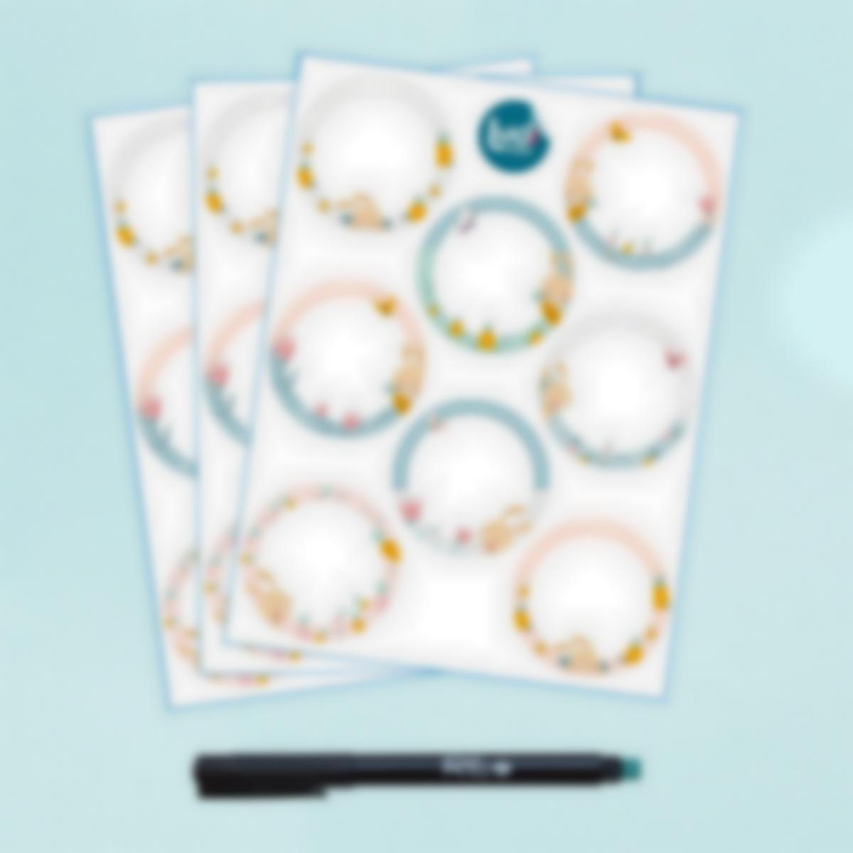 Etichette bianche rotonde scrivibili x 24 - Coniglio