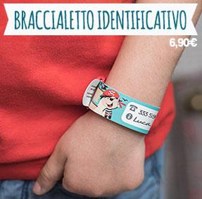 Braccialetto identificativo di sicurezza per segnare i recapiti dei genitori se il bambino dovesse allontanarsi.