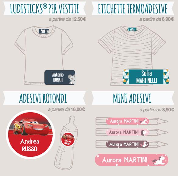 Diversi formati di etichette personalizzate (adesivi, da stirare, rotonde, mini…) per contrassegnare vestiti e oggetti con il nome.