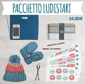 Il pacchetto Ludistart contiene un assortimento di tutti i nostri tipi di etichette per contrassegnare gli oggetti e i vestiti dei piccoli e dei grandi.