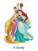 illustrazione Disney principesse per le etichette nominative